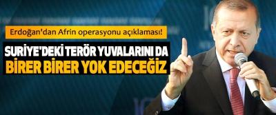Cumhurbaşkanı Erdoğan:Suriye'deki Terör Yuvalarını da Birer Birer Yok Edeceğiz