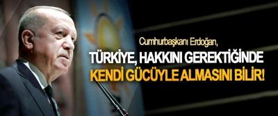Cumhurbaşkanı Erdoğan; Türkiye, hakkını gerektiğinde  Kendi gücüyle almasını bilir!