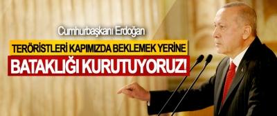 Cumhurbaşkanı Erdoğan: Teröristleri kapımızda beklemek yerine bataklığı kurutuyoruz!