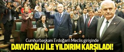 Cumhurbaşkanı Erdoğan'ı Meclis girişinde Davutoğlu ile yıldırım karşıladı!