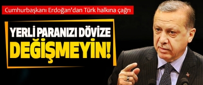 Cumhurbaşkanı Erdoğan'dan Türk halkına çağrı; Yerli paranızı dövize değişmeyin!