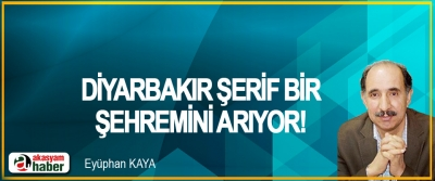 Diyarbakır şerif bir şehremini arıyor!