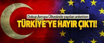 Dokuz Avrupa Ülkesinde yapılan ankettenTürkiye'ye hayır çıktı!