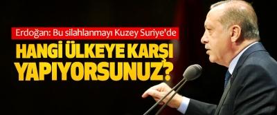 Erdoğan: Bu silahlanmayı Kuzey Suriye'de hangi ülkeye karşı yapıyorsunuz?