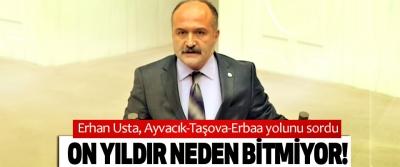 Erhan Usta, Ayvacık-Taşova-Erbaa yolunu sordu: On yıldır neden bitmiyor!