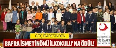 Göç İdaresinden Bafra İsmet İnönü İlkokulu' na Ödül!