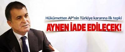 Hükümetten AP'nin Türkiye kararına ilk tepki
