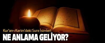 Kur'an-ı Kerim'deki sure isimleri ne anlama geliyor?