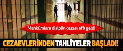 Mahkûmlara disiplin cezası affı geldi, Cezaevlerinden tahliyeler başladı!