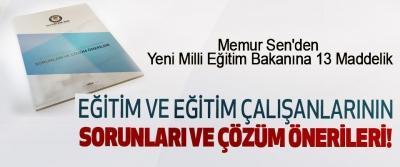 Memur Sen'den Yeni Milli Eğitim Bakanına 13 Maddelik Eğitim Ve Eğitim Çalışanlarının Sorunları Ve Çözüm Önerileri!