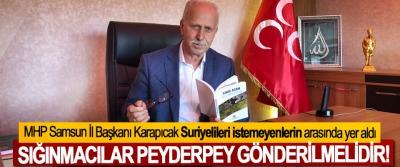MHP Samsun İl Başkanı Karapıcak:Sığınmacılar peyderpey gönderilmelidir!