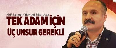 Mhp Samsun Milletvekili Erhan Usta: Tek Adam İçin Üç Unsur Gerekli