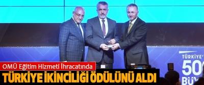 OMÜ Eğitim Hizmeti İhracatında Türkiye İkinciliği Ödülünü Aldı