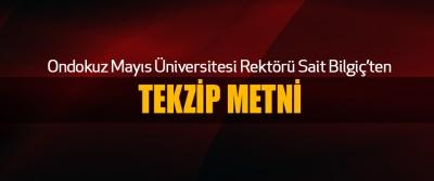 Ondokuz Mayıs Üniversitesi Rektörü Sait Bilgiç'ten Tekzip Metni