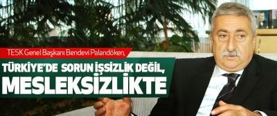 Palandöken, Türkiye'de Sorun İşsizlik Değil, Mesleksizlikte