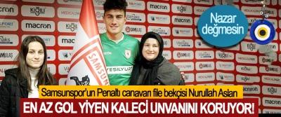 Penaltı canavarı Samsunspor'un file bekçisi Nurullah Aslan En az gol yiyen kaleci unvanını koruyor!