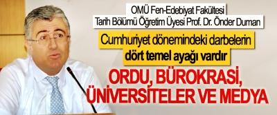 Prof. Dr. Önder Duman: Cumhuriyet dönemindeki darbelerin dört temel ayağı vardır