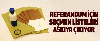 Referandum İçin Seçmen Listeleri Askıya Çıkıyor