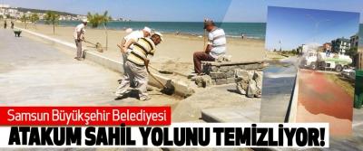Samsun Büyükşehir Belediyesi Atakum sahil yolunu temizliyor!