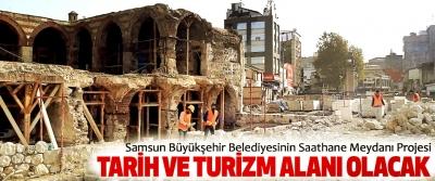 Samsun Büyükşehir Belediyesinin Saathane Meydanı Projesi Tarih Ve Turizm Alanı Olacak