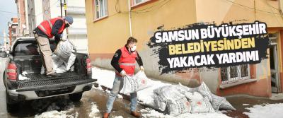 Samsun Büyükşehir Belediyesinden Yakacak Yardımı