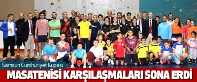 Samsun Cumhuriyet Kupası Masatenisi Karşılaşmaları Sona Erdi