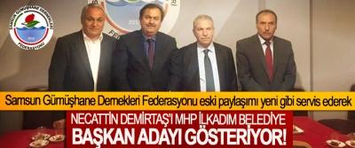 Samsun Gümüşhane Dernekleri Federasyonu eski paylaşımı yeni gibi servis ederek Necattin Demirtaş'ı MHP İlkadım Belediye Başkan Adayı Gösteriyor!
