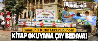 Samsun İl Kültür Müdürlüğünden Kitap okuyana çay bedava!