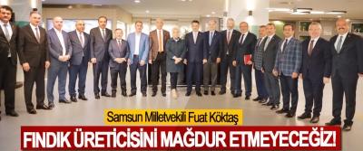 Samsun Milletvekili Fuat Köktaş:Fındık üreticisini mağdur etmeyeceğiz!