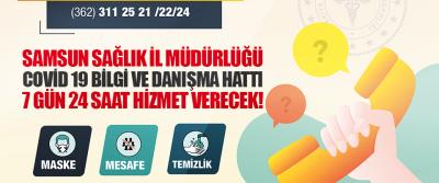 Samsun Sağlık İl Müdürlüğü Covid 19 Bilgi ve Danışma Hattı 7 Gün 24 Saat Hizmet Verecek!