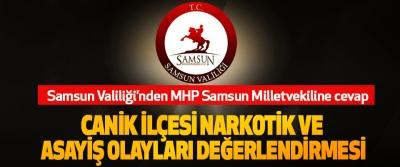 Samsun Valiliği'nden MHP Samsun Milletvekiline cevap