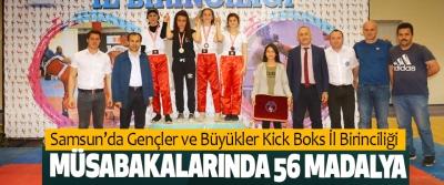 Samsun'da Gençler Ve Büyükler Kick Boks İl Birinciliği Müsabakalarında 56 Madalya