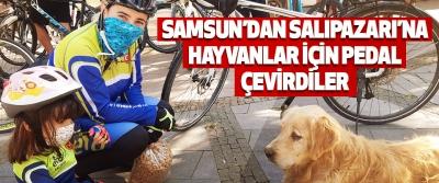 Samsun'dan Salıpazarı'na Hayvanlar İçin Pedal Çevirdiler