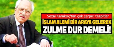 Sezai Karakoç'tan çok çarpıcı tespitler; İslam alemi bir araya gelerek zulme dur demeli!