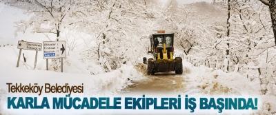 Tekkeköy Belediyesi Karla Mücadele Ekipleri İş Başında!