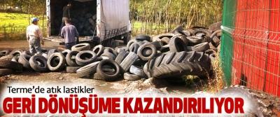 Terme'de Atık Lastikler Geri Dönüşüme Kazandırılıyor