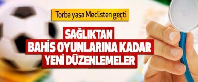 Torba yasa Meclisten geçti: Sağlıktan Bahis Oyunlarına Yeni Düzenlemeler