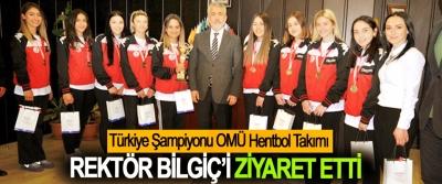 Türkiye Şampiyonu OMÜ Hentbol Takımı Rektör Bilgiç'i Ziyaret Etti