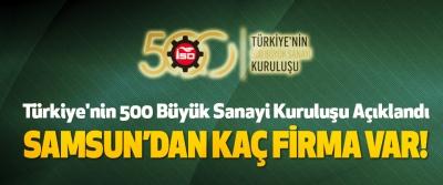 Türkiye'nin 500 Büyük Sanayi Kuruluşu Açıklandı Samsun'dan kaç firma var!