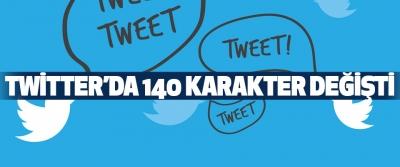 Twitter'da 140 Karakter Değişti