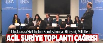 Uluslararası Sivil Toplum Kuruluşlarından Birleşmiş Milletlere Acil Suriye Toplantı Çağrısı